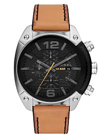Diesel Men's Chronograph Overflow Brown Leather Strap Watch 49mm