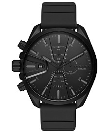 Diesel Men's Chronograph MS9 Chrono Black Silicone Strap Watch 48mm