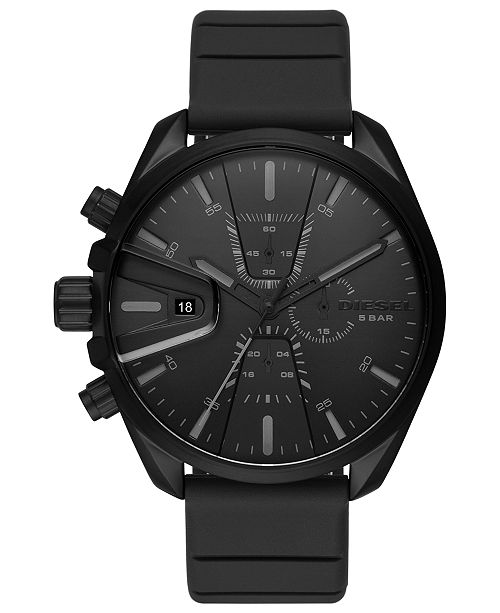 Diesel Men's Chronograph MS9 Chrono Black Silicone Strap Watch 48mm