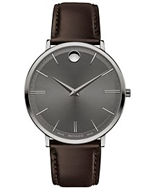 Men's Swiss Ultra Slim Brown Leather Strap Watch 40mm