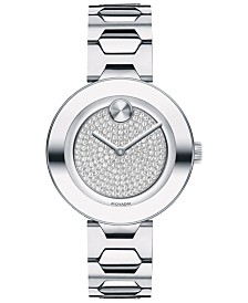Movado Women's Swiss BOLD Stainless Steel Bracelet Watch 32mm
