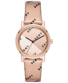 DKNY Women's Soho Rose Gold-Tone Leather Strap Watch 34mm