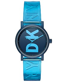 DKNY Women's Soho Ocean Blue Polyurethane Strap Watch 34mm