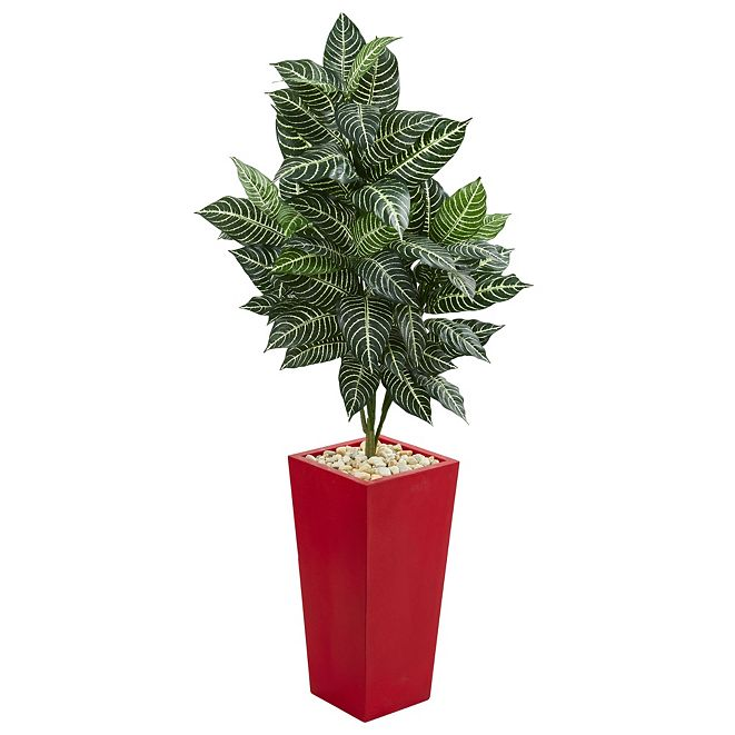 Nearly Natural 4.5' Zebra Artificial Plant in Red Planter