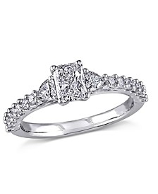 Certified Diamond (7/8 ct. t.w.) Radiant-Shape Engagement Ring in 14k White Gold
