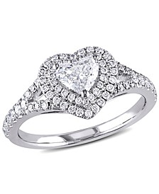 Certified Diamond (1 ct. t.w.) Heart-Shape Double Halo Engagement Ring in 14k White Gold