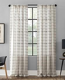 """Clean Window Twill Stripe Anti-Dust Curtain Panel, 52"""" x 95"""""""