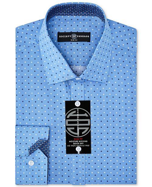 Society of Threads Men's Slim-Fit Non-Iron Performance Quad Dot Dress Shirt