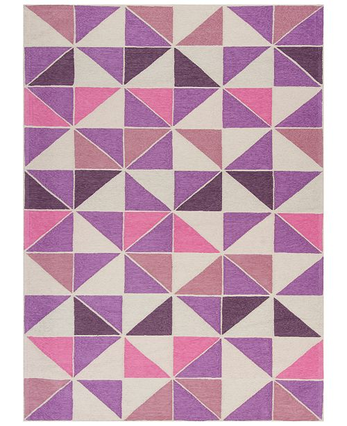 Kas CLOSEOUT! Retreat Kaleidoscope 130 Ivory/Pink 5' x 7' Area Rug