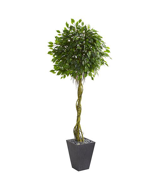 Nearly Natural 6' Ficus Artificial Tree in Slate Planter UV Resistant