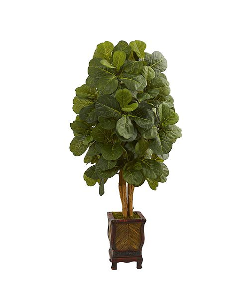 Nearly Natural 4.5' Fiddle Leaf Artificial Tree in Decorative Planter