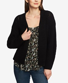 1.STATE Long-Sleeve Pointelle Open Cardigan