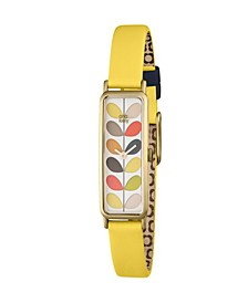 Orla Kiely Watch, Yellow Leather Strap With Buckle Closure