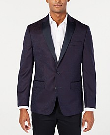 Men's Modern-Fit Burgundy Paisley Jacquard Dinner Jacket, Created for Macy's