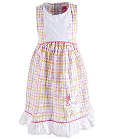Good Lad Little Girls Plaid Seersucker Bunny Dress