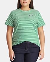 a0e07ea5751 Lauren Ralph Lauren Plus Size Striped Cotton T-Shirt