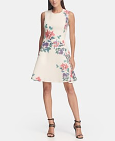 DKNY Floral Print Mesh Fit and Flare Dress, Created for Macy's