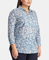 86664de14cde9 Lauren Ralph Lauren Plus Size Cotton Voile Shirt