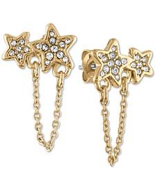 Gold-Tone Pavé Double Star & Chain Stud Earrings
