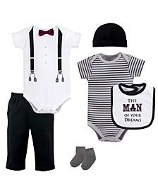 Unisex Baby Layette Set, Man of Your Dreams, 6-Piece Set, 0-3 Months (3M)