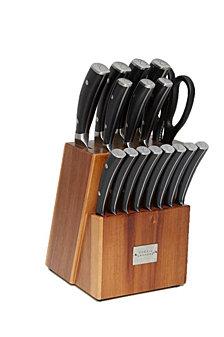Emeril 17-Pc. Acacia Wood Forged Block Cutlery Set