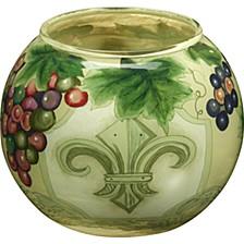 Ne'Qwa Art Hand-Painted Glass Fleur De Lis Vines Votive Holder