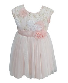 Little Girls Golden Flower Tulle Dress