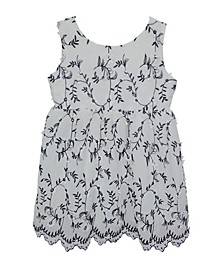 Little Girls Black and White Flower Dress
