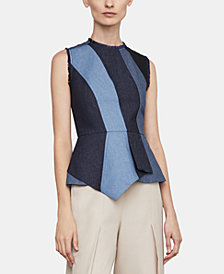 BCBGMAXAZRIA Colorblocked Peplum Top
