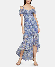 BCBGMAXAZRIA Printed Cold-Shoulder Dress