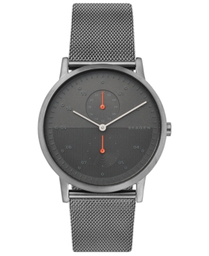 Skagen Watches MEN'S KRISTOFFER GUNMETAL STAINLESS STEEL MESH BRACELET WATCH 42MM