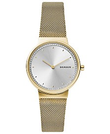 Skagen Women's Annelie Gold-Tone Stainless Steel Mesh Bracelet Watch 34mm