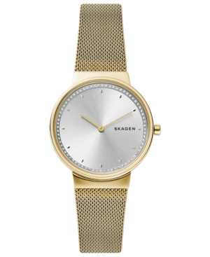 Skagen Watches WOMEN'S ANNELIE GOLD-TONE STAINLESS STEEL MESH BRACELET WATCH 34MM