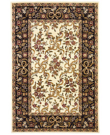 "KAS Cambridge Floral Ribbons 7310 Ivory/Black 7'7"" Octagon Area Rug"