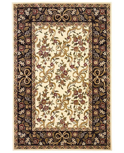 "Kas CLOSEOUT! Cambridge Floral Ribbons 7310 Ivory/Black 7'7"" Octagon Area Rug"