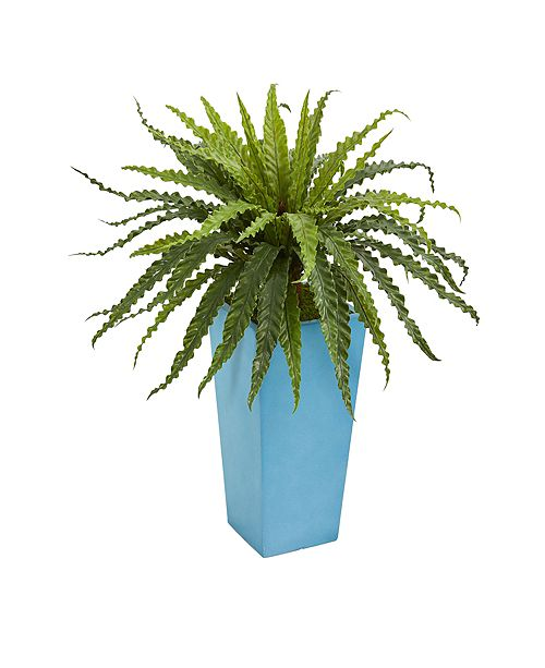 Nearly Natural Asplenium Artificial Plant in Turquoise Planter