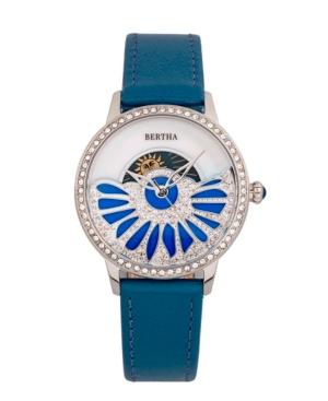 Bertha Quartz Adaline Teal Genuine Leather Watch, 37mm