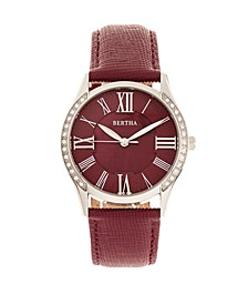 Quartz Sadie Burgundy Genuine Leather Watch, 36mm