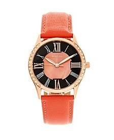Quartz Sadie Coral Genuine Leather Watch, 36mm