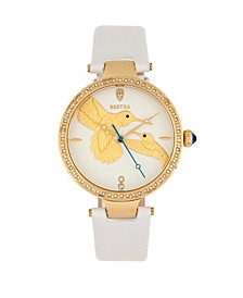 Quartz Nora White Genuine Leather Watch, 38mm