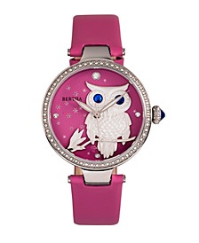 Quartz Rosie Pink Genuine Leather Watch, 38mm