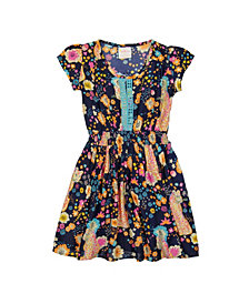 Masala Baby Girls Mia Dress Cheetah Floral