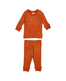 Masala Baby Organic Cotton Kids Long sleeve Pajamas Golden Web Brick