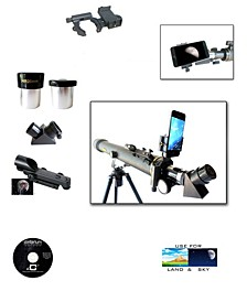 Galileo 700 X 60 Day Night Telescope + Smartphone Adapter and Red Dot Finder Scope