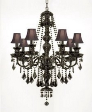Royal 7-Light Jet Black Crystal Chandelier with Black Shades