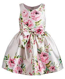 Pink & Violet Little Girls Bow-Trim Floral-Print Dress