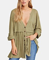 Free People Jolin Deep-V Raw-Seam Blouse a85b3415d
