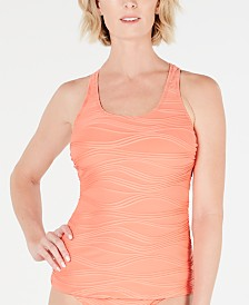 GO by Gossip Wavelength Textured Scoop-Neck Tankini