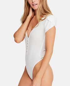 Free People Mia Tulip-Sleeve Buttoned Bodysuit