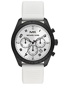 Michael Kors Men's Chronograph Keaton White Silicone Strap Watch 43mm